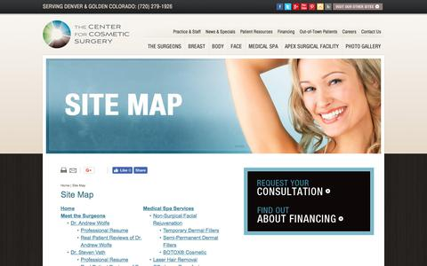 Screenshot of Site Map Page thecenterforcosmeticsurgery.net - Colorado Cosmetic Surgery Site Map - captured July 20, 2017