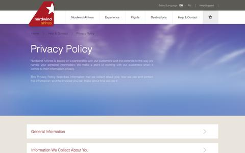Screenshot of Privacy Page nordwindairlines.ru - Nordwind - Privacy Policy - captured Nov. 1, 2014