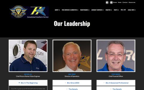 Screenshot of Team Page hillaircraft.com - Leadership | Hill Aircraft - captured July 19, 2018