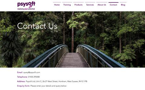 Screenshot of Contact Page psysoft.com - Contact Us | Psysoft - captured Nov. 11, 2018