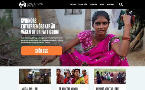 Screenshot of Home Page handinhand.nu - Hand in Hand - Bekämpa fattigdom genom företagande - captured Jan. 25, 2016
