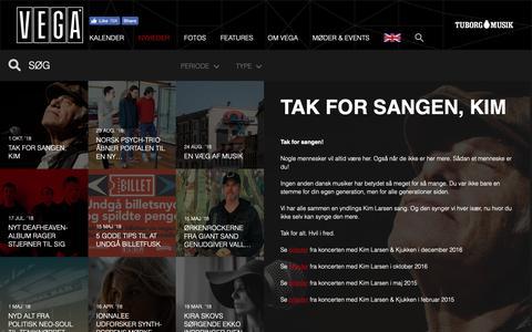 Screenshot of Press Page vega.dk - En hyldest til Kim Larsen. - VEGA   Musikkens hus - captured Oct. 1, 2018