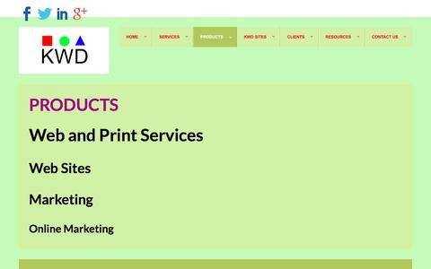 Screenshot of Products Page kitsapwebdevelopment.com - Products - captured Jan. 9, 2016