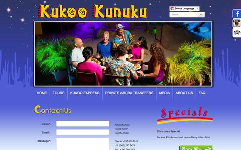 Screenshot of Contact Page kukookunuku.com - Contact Us - captured Dec. 26, 2015