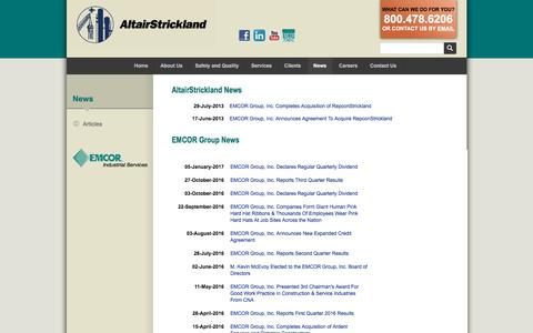 Screenshot of Press Page altairstrickland.com - Industrial Engineering Company & FCCU | AltairStrickland - captured May 29, 2017