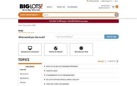 Screenshot of FAQ Page biglots.com - Big Lots Help | Big Lots - captured Aug. 2, 2018