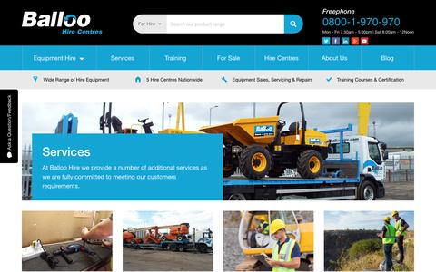 Screenshot of Services Page balloohire.com - Services | Plant and Tool Hire Belfast | Balloo Hire - captured Nov. 13, 2018