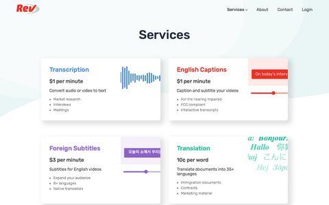 Screenshot of Services Page rev.com - Services - Rev - captured Sept. 19, 2018
