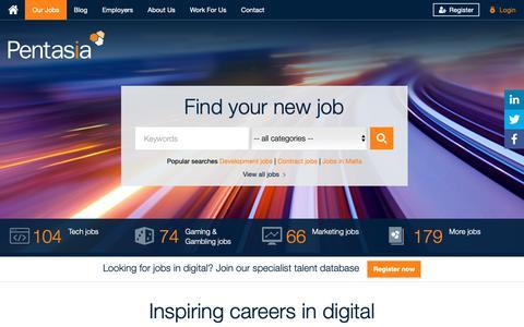 Screenshot of Home Page pentasia.com - Pentasia: Inspiring Careers In Digital - captured Nov. 4, 2018