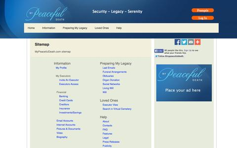Screenshot of Site Map Page mypeacefuldeath.com - Sitemap - captured Oct. 6, 2014