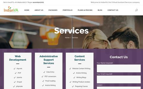 Screenshot of Services Page indianva.com - Virtual Assistant Services | IndianVA - captured Nov. 6, 2018
