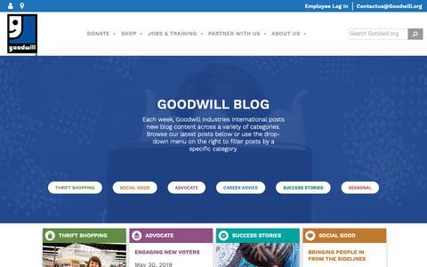 Screenshot of Blog goodwill.org - Goodwill Blog - Goodwill Industries International - captured June 13, 2019