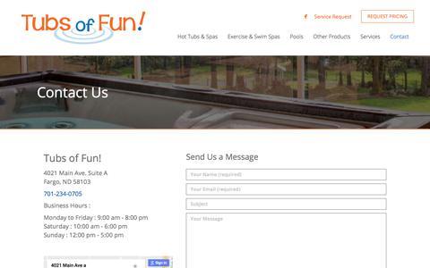Screenshot of Contact Page tubsoffun.com - Contact Tubs of Fun! - Fargo ND - Tubs of Fun - captured June 17, 2017
