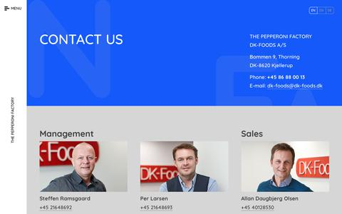 Screenshot of Contact Page dk-foods.dk - Contact Us - captured Aug. 5, 2018
