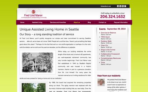 Screenshot of About Page fredlindmanor.com - About Our Assisted Living Home in Seattle   Fred Lind Manor - captured Sept. 30, 2014