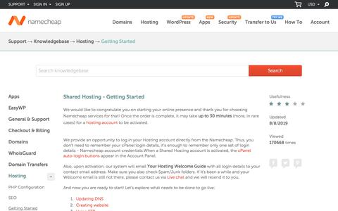 Screenshot of Support Page namecheap.com - Shared Hosting - Getting Started - Hosting - Namecheap.com - captured Oct. 9, 2019