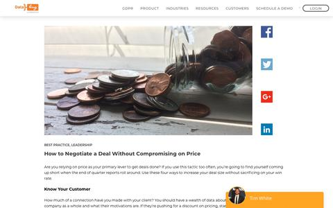 Screenshot of Pricing Page datahug.com - How to Negotiate a Deal Without Compromising on Price - Datahug - captured Nov. 12, 2019