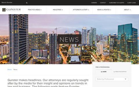 Screenshot of Press Page gunster.com - News - Gunster - captured May 25, 2017