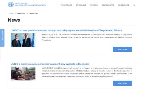 Screenshot of Press Page unido.org - News   UNIDO - captured July 25, 2018