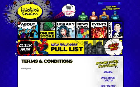 Screenshot of Terms Page casablancacomics.com - Terms & Conditions - Casablanca Comics - captured Sept. 30, 2014