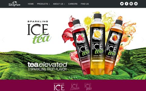 Screenshot of Home Page talkingrain.com - Talking Rain - Bold Flavors, Zero Calories, Perfectly PossibleŞ - captured Nov. 3, 2015