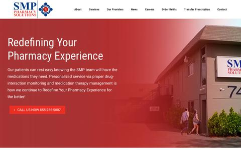Screenshot of Home Page smppharmacy.com - SMP Pharmacy Solutions | Home - captured Nov. 1, 2018