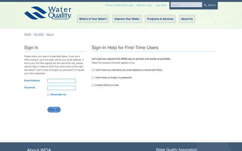 Screenshot of Login Page wqa.org - Sign In - captured Sept. 24, 2014