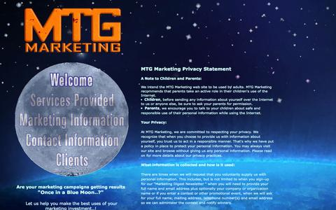 Screenshot of Privacy Page mtgmarketing.com - MTG Marketing Privacy Statement - Contact Us at 877-281-1421 - captured Sept. 30, 2014