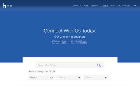 Screenshot of Contact Page havas.com - Contact Us | Havas - captured Nov. 17, 2018