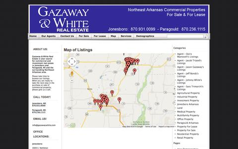 Screenshot of Maps & Directions Page gazawaywhite.com - Map of Listings - captured Oct. 2, 2014