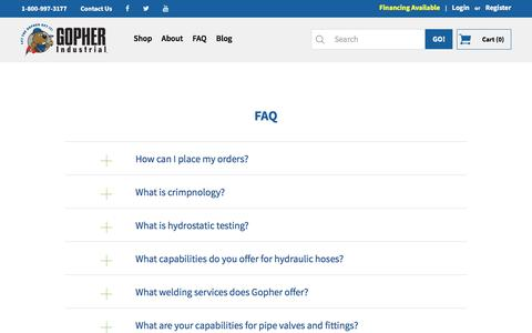 Screenshot of FAQ Page gopherindustrial.com - FAQ - captured Nov. 12, 2016