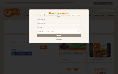 Screenshot of Login Page quorn.co.uk - Login - captured Oct. 15, 2015