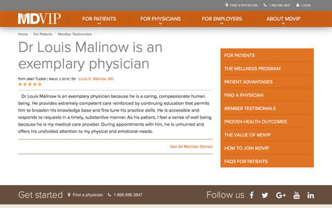 Screenshot of Testimonials Page mdvip.com - Dr Louis Malinow is an exemplary physician | MDVIP - captured May 5, 2018