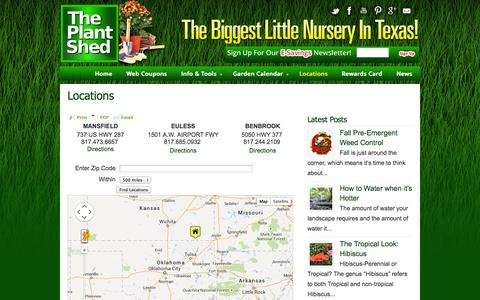 Screenshot of Locations Page plant-shed.com - Locations «  Plant Shed - captured Oct. 9, 2014