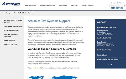 Screenshot of Support Page astronics.com - Astronics Test Systems Support - captured July 31, 2018