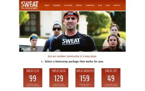 Screenshot of Pricing Page sweatoutdoors.com - Pricing | SWEAT OUTDOORS - captured Sept. 30, 2014