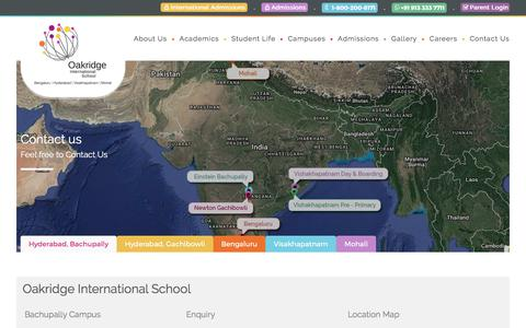 Screenshot of Contact Page oakridge.in - Contact Us | India's prominent International school chains - Oakridge.in - captured June 22, 2017