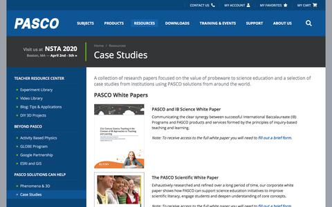 Screenshot of Case Studies Page pasco.com - Case Studies - Resources   PASCO - captured Feb. 10, 2020