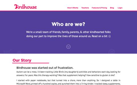 Screenshot of About Page birdhousehq.com - Birdhouse for Autism - captured Nov. 4, 2015