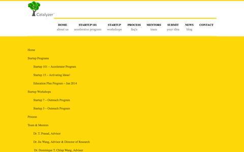 Screenshot of Site Map Page catalyzer.co - Catalyzer Startup Accelerator - Startup Commune - captured Nov. 1, 2014