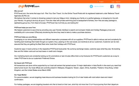 Screenshot of About Page pyotravel.com - PYOTravel.com: Airline Tickets, Hotels, Vacations Packages, & Land Tours - captured July 15, 2018