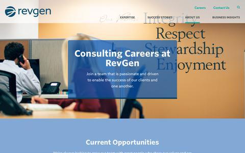 Screenshot of Jobs Page revgenpartners.com - Consulting Jobs in Denver | RevGen Partners - captured Feb. 15, 2018