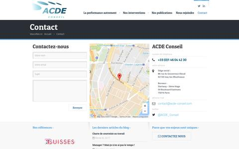 Screenshot of Contact Page acde-conseil.com - Contact - ACDE Conseil - captured May 28, 2017