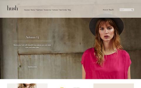 Screenshot of Home Page hush-uk.com - Hush | Women's cotton & silk pyjamas, Nightwear & Loungewear - captured Sept. 19, 2014