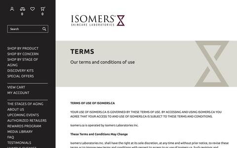 Screenshot of Terms Page isomers.ca - Terms - Isomers Laboratories Inc - captured Dec. 19, 2018