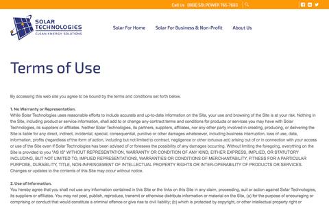 Screenshot of Terms Page solartechnologies.com - Terms of Use | Solar Technologies - captured Jan. 11, 2016