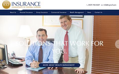 Screenshot of Home Page myiccf.com - Insurance Orlando FL - Health Insurance Agency in Orlando - ICCF - captured Feb. 11, 2016