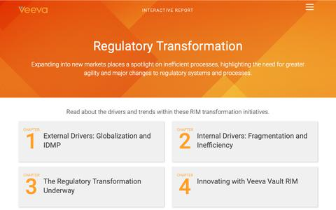 Screenshot of Landing Page veeva.com - Regulatory Transformation | Veeva Systems - captured Oct. 5, 2018