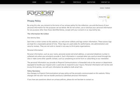 Screenshot of Privacy Page pinpointcommunications.net - PinPoint Communications - captured Sept. 29, 2014