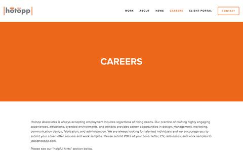 Screenshot of Jobs Page hotopp.com - Careers — Hotopp - captured Feb. 1, 2016